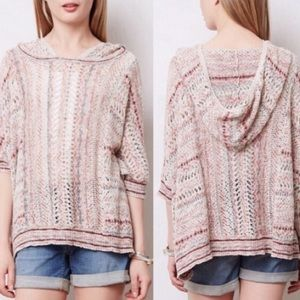 Anthropologie spliced eyelet hooded poncho sweater